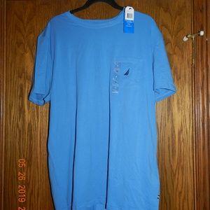 NWT Men's Nautica Light Blue Pocket T Shirt